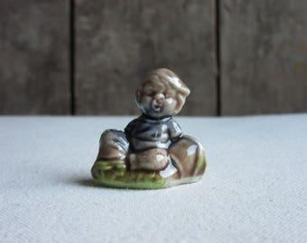 Vintage Wade Nursery Rhyme Character Figure, Jack (& Jill) Porcelain Miniature Figurine, Red Rose Tea, Wade Whimsies England, Nursery Rhymes