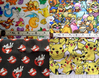 Pokemon, Pikachu, Nintendo or Ghostbsters FABRIC!