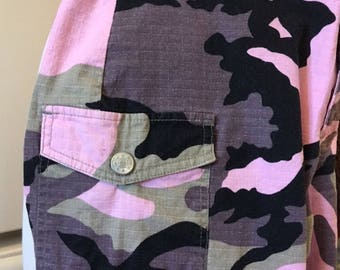 Pink/Black/Green/Gray Camouflage Cargo jeans