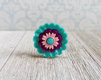 Flower - Teal Flower - Wedding - Gift Idea Lapel Pin