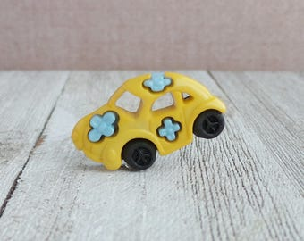 Beetle Car - Love Bug - Hippie Car - Peace and Love - Flower Power - 70's - Tie Tack or Lapel Pin