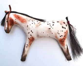 Native American Indian style horse doll Appaloosa spotted leopard pony primitive folk art country rustic leather bridle cowgirl western