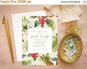 Tropical Bridal Shower Invitation PDF with Gold Pineapple Print