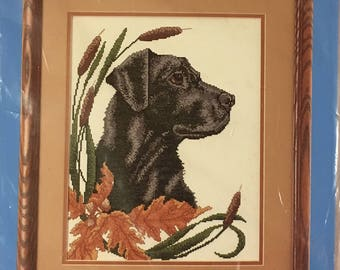 Candamar Designs Black Lab and Cattails Counted Cross Stitch Kit