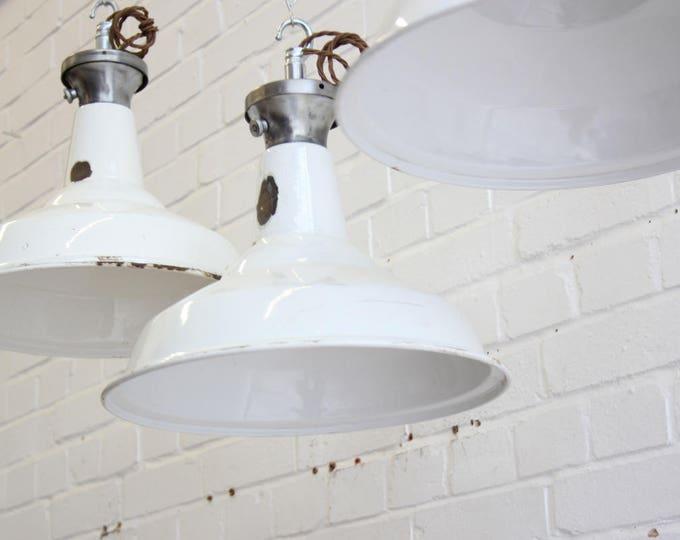 White Enamel Industrial Pendant Lights By Benjamin Circa 1950's