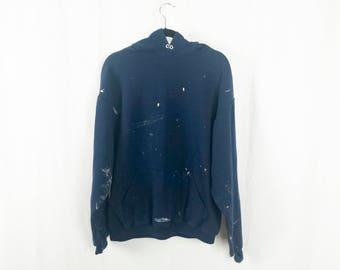 Distressed Paint Splattered Navy Blue  Hoodie