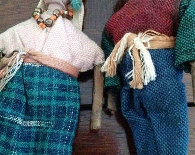 Retrocon Sale - Vintage Peruvian folk dolls handcrafted from rolled paper, cloth and straw