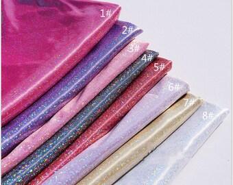 1 Yard Mystic Hologram Thin Fabric,Iridescent Shiny Fabric.Shimmering Powder Were Print on Thin Fabric,Decoration Fabric