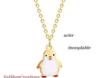 Penguin gold stainless steel necklace
