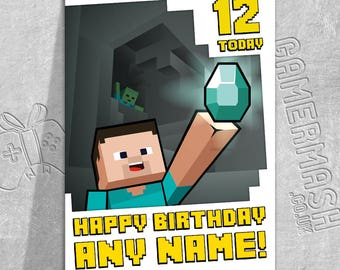 PERSONALISED BIRTHDAY CARD - Steve Cave Bordered - Minecraft Themed