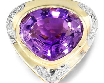 Vintage Amethyst Heart Pendant with Diamonds in 14kt Yellow Gold 10.09ctw
