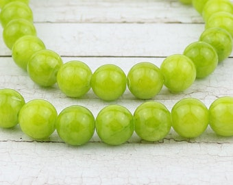 8 mm Lime Jadeite beads • Jadeite beads • Gemstone beads • Lime green beads • Gemstone beads • 8 mm gemstone beads • Natural jadeite beads
