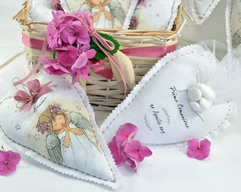 10 Personalized Favors-Heart 12 x 18 cm for communion and confirmation