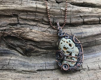 Wire Wrapped Natural Stone One of a Kind!