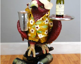 Drink Serving Parrot Butler Bird Statue w Silver Tray 3' Restaurant or Kitchen
