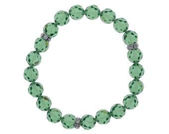 Swarovski Crystal, Green, Erinite, Crystal Bracelet, Elastic Bracelet, 8mm Beads, Stretch, Genuine Crystal