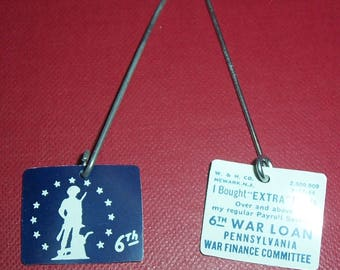 2 World War II war bonds lapel pins, PA