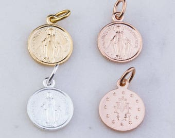 3pcs-Virgin Mary Latin Round Pendant in Sterling Silver, Gold Plated OR Rose Gold Plated, Miraculous Medal Charm, Catholic Charms CM165R