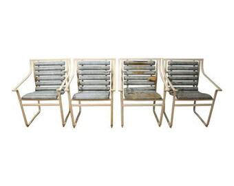 Set of 4 Mid-Century Danish Modern Samsonite Outdoor Scoop Seat Arm Chairs
