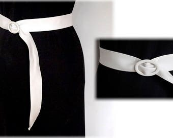 """Astor White Faux Leather Belt, Vegan Leather Waist Cincher, Imitation Leather Adjustable Belt, Fits to about 39"""""""