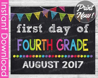 First Day of Fourth Grade Sign INSTANT DOWNLOAD, August 2017 PRINTABLE First Day of School Chalkboard Sign 4th, 1st First Day of School Sign
