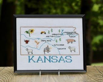 Vintage Framed Kansas Cross Stitch / Kansas Gift / Kansas Embroidery / Kansas Cross Stitch Embroidery / Framed Kansas Wall Hanging