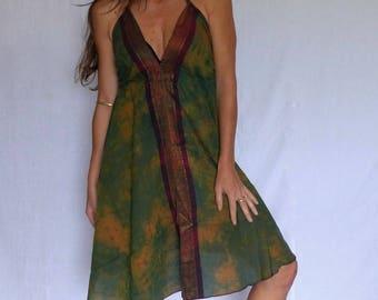 Ethnic short dress, cotton tie dye green and pink, gold trim, Halter, beach festival
