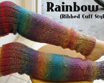 Hand Knit Rainbow OTK Thigh High Leg Warmers Made to Order