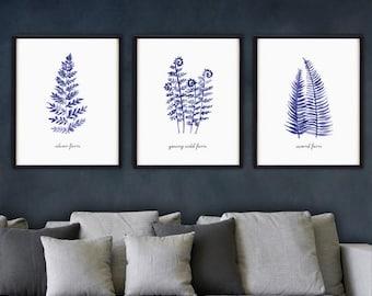 living room art prints. Fern watercolor painting  Indigo blue and white art Botanical print Bedroom Living room Etsy