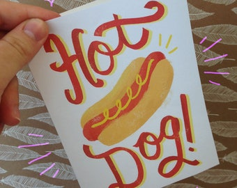 Hot Dog! PRINTABLE A6 foodie greeting / thank you card