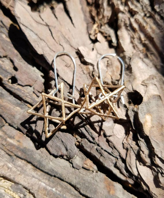 3D Star Tetrahedron Earrings in Recycled Bronze and Sterling Silver - Sacred Geometry