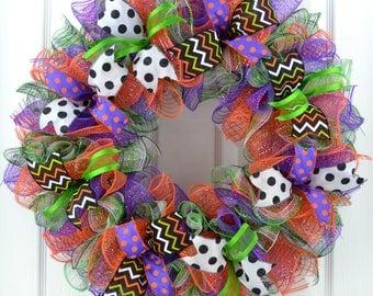 Halloween wreath - Halloween door wreath - Front door Halloween wreath - Front door wreath - Halloween Mesh wreath - Mesh Halloween wreath