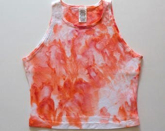 M Peach Watercolor High Neck Crop Top