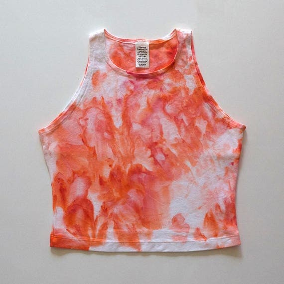 M Peach Watercolor High Neck Crop Top