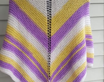shawl, knit shawl, multicolor shawl (lemon berry pop)