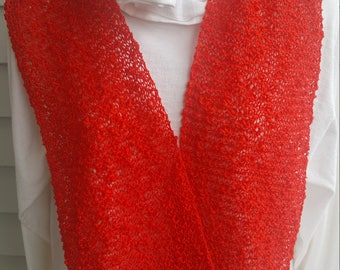 cotton light weight flowing scarf, lacey scarf, (red)