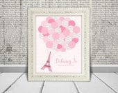 Pink Paris Eiffel Tower Birthday Party Sweet 16 Quince Baby Shower Guest Book Alternative Printable JPG for Guests to Sign the Balloons