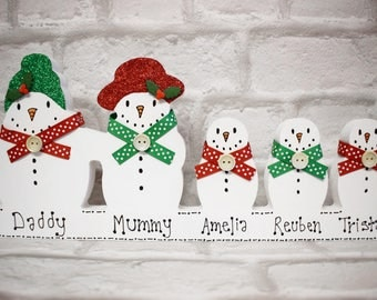Snowman Family Personalised Decoration, Family Christmas Ornament, Personalised Christmas Decoration, Christmas Plaque, Family Christmas, UK