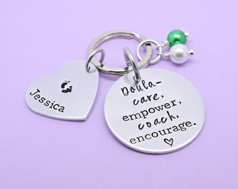 Gift For Doula, Personalised Doula Gift, Doula Keyring, Doula Keychain, Thank You Gift, Handstamped Keyring, Care Empower Coach Encourage