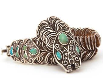 MATL Sterling Snake Bracelet Matl Signed Sterling Turquoise Vintage Mexican Silver Serpent Bracelet Rattlesnake Matilde Poulat