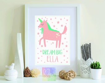 Personalised Unicorn Dream Big A4 Print