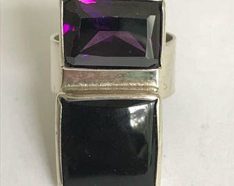Amethyst Onyx Sterling Ring Adjustable Silver 925 Modern Art Deco Vintage Jewelry Southwestern Birthday Holiday Christmas Gift Boho Artisan