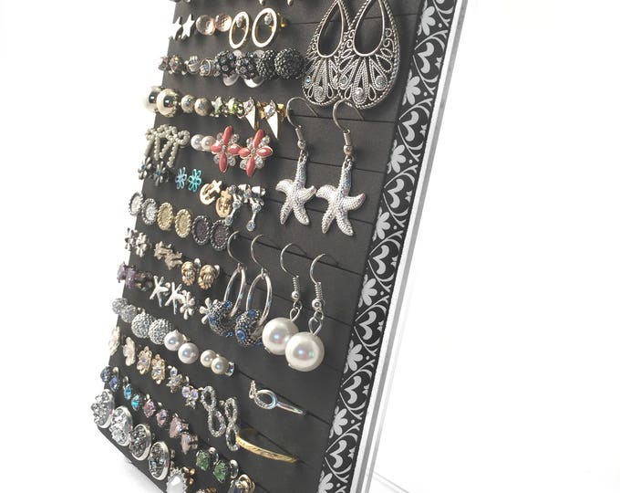 Earring Display Stand - Black & White Fleur Ribbon - Earring Organizer