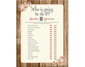 Wood, Who is going to do it, Bridal Shower Game, Peach, Flowers, Instant Download, Couples Shower Game, Who said it