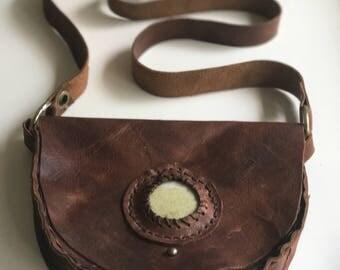 Beautiful messenger bag - W/ Moss green stone!