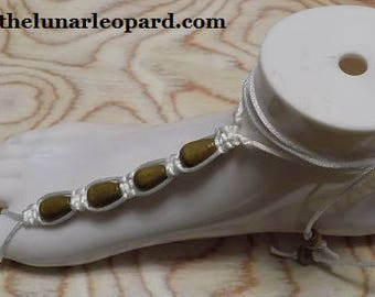 Barefoot Sandals - White Satin Cord with Wood Beads