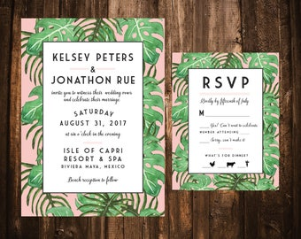 Coral Palm Tree Wedding Invitations; Pink; Printable OR set of 25