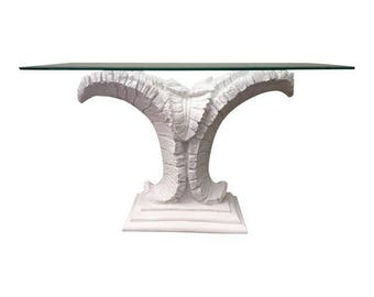 Sculptural Palm Leaf Console Table After Serge Roche & Dorothy Draper