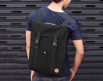 Simply Collection - Black (Convertible Backpack Tote, Backpack, Bag, Tote Bag, Cloth, Canvas, Notebook, Laptop, Sleeve, Transform)
