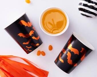 Orange Foiled Bat Design Paper Cups, Bat Paper Cups, Black, Orange Paper Cups